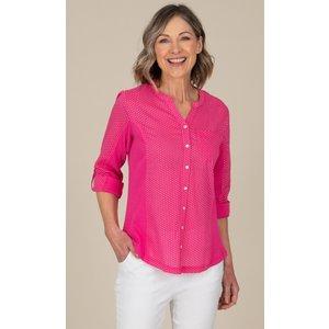 Anna Rose Spot Print Cotton Blouse - Pink - 14 Qq8x2s2075014 Womens Tops, PINK