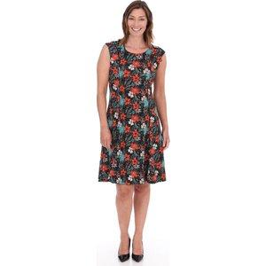 Klass Floral Printed Panelled Short Sleeve Jersey Dress - Black/tomato - 20 Black Tomato 582e1s1l25020 Womens Dresses & Skirts, BLACK TOMATO