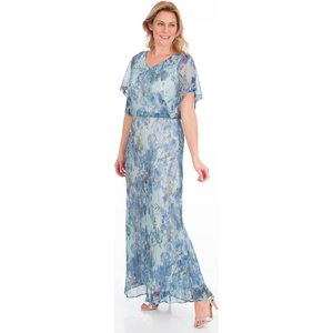 Klass Floral Printed Shimmer Maxi Dress - Blue/silver - 10 Blue Silver 137z3s1f45010 Womens Dresses & Skirts, BLUE SILVER
