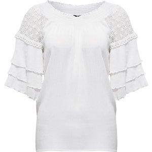 Klass Layered Three Quarter Sleeve Smoked Top - White - 14 682bcs1030014 Womens Tops, WHITE