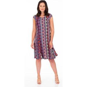 Klass Panelled Printed Jersey Dress - Blue/pink - 14 Blue Pink 582l7s1d49014 Womens Dresses & Skirts, BLUE PINK
