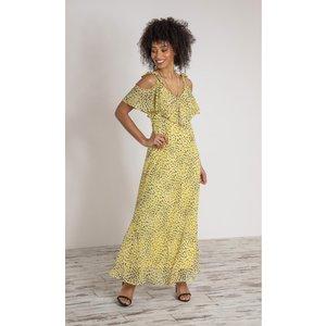 Klass Printed Chiffon Maxi Dress - Black/yellow/ivory - 18 Black Yellow Ivory 41y31s1q88018 Womens Dresses & Skirts, BLACK YELLOW IVORY