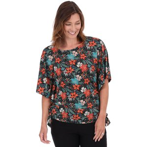 Klass Printed Jersey Short Sleeve Top - Black/tomato - Xl Black Tomato 861g8s1l25105 Womens Tops, BLACK TOMATO