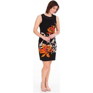 Klass Printed Sleeveless Jersey Midi Dress - Black/orange - L Black Orange 082f5s1e45104 Womens Dresses & Skirts, BLACK ORANGE