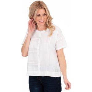 Klass Stripe Cotton Blouse - White - 18 40u8ys1030018 Womens Tops, WHITE
