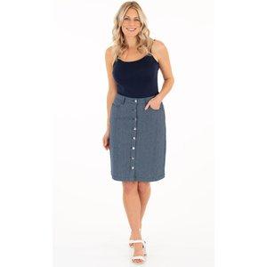 Klass Striped Button Front Skirt - Blues - 20 98ec8s1595020 Womens Dresses & Skirts, BLUES