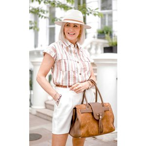 Klass Striped Short Sleeve Cotton Blouse - Pink/brown - 16 Pink Brown 45nt3s1270016 Womens Tops, PINK BROWN
