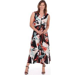 Klass Tie Waist Printed Maxi Dress - Black/tomato - 12 Black Tomato 39be3s1l25012 Womens Dresses & Skirts, BLACK TOMATO