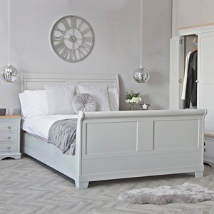 Chiltern Oak Furniture Ashbourne Grey Painted King Size Sleigh Bed Frame Bri Qb01 Beds, Grey Painted