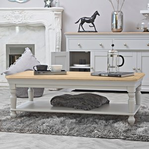Chiltern Oak Furniture Ashbourne Grey Painted Large Coffee Table Bri Cf Tables, Grey Painted