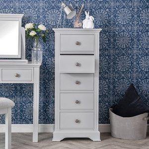 Chiltern Oak Furniture Banbury Grey Painted 5 Drawer Tallboy Bp 5dn G Storage, Grey Painted