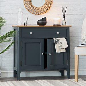 Chiltern Oak Furniture Bergen Blue Painted Oak 2 Door 1 Drawer Mini Sideboard Ntp Sms Bl Storage, Blue Painted