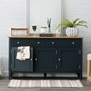 Chiltern Oak Furniture Bergen Blue Painted Oak 3 Door 2 Drawer Large Sideboard Ntp 3ds Bl Storage, Blue Painted