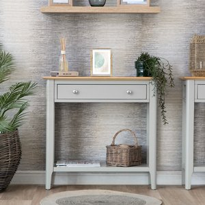 Chiltern Oak Furniture Bergen Grey Painted Oak Console Table Ntp Con G Tables, Grey Painted