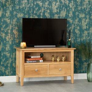 Chiltern Oak Furniture Bergen Oak Small Tv Unit Natural Oak Nt Stv Storage, Natural Oak