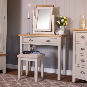 Chiltern Oak Furniture Chester Grey Painted Oak Dressing Table Stone Painted Nc Dt Pt Tables, Stone Painted