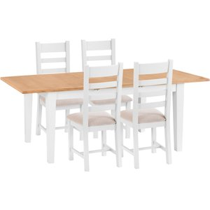 Chiltern Oak Furniture Chester White Painted Oak 1.6m Butterfly Extending Table & 4 Fabric Seat Chairs Nc W Tset7, White Painted