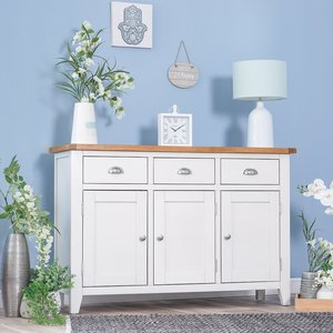 Chiltern Oak Furniture Chester White Painted Oak 3 Door Large Sideboard Nc 3ds W Storage, White Painted