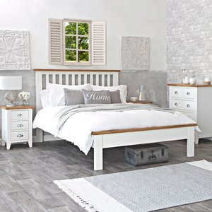 Chiltern Oak Furniture Chester White Painted Oak Double Bed Frame Nc 46 W Beds, White Painted