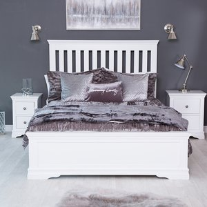 Chiltern Oak Furniture Florence White Painted King Size Bed Frame Low Panelled Footboard Sw 50 W Beds, White Painted