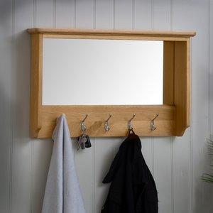 Chiltern Oak Furniture Gloucester Oak Mirrored Coat Rack Natural Oak Gao Hbt Furniture Accessories, Natural Oak