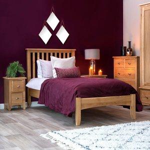 Chiltern Oak Furniture Gloucester Oak Single Bed Frame Natural Oak Gao 30 Beds, Natural Oak