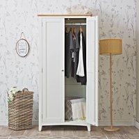 Chiltern Oak Furniture Gloucester White Painted Double Wardrobe Ga Fhr W Storage, White Painted