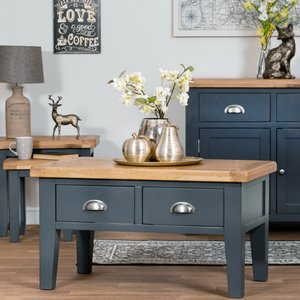 Chiltern Oak Furniture Hampshire Blue Painted Oak Coffee Table With Drawers Kel P07 73 Tables, Blue Painted