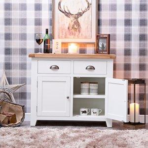 Chiltern Oak Furniture Hampshire White Painted Oak 2 Door Small Sideboard Kel P06 82 Storage, White Painted