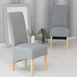 Chiltern Oak Furniture Holcombe Light Grey Classic Scroll Back Dining Chair  Ch35 Lg Chairs