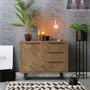 Chiltern Oak Furniture Industrial Oak Small 1 Door 3 Drawer Sideboard Ib Ms Storage, Oak