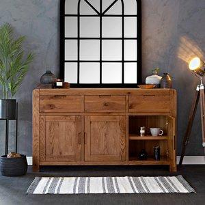 Chiltern Oak Furniture Oslo Chunky Oak Large 3 Door Sideboard Ml 02 Storage, Oak