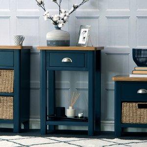 Chiltern Oak Furniture Rutland Blue Painted Oak Telephone Table Ra Tel B Tables, Blue Painted