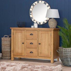 Chiltern Oak Furniture Rutland Oak 2 Door 3 Drawer Large Sideboard Rao Ls Storage, Oak