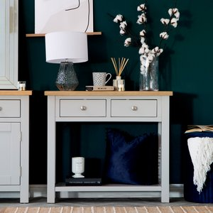 Chiltern Oak Furniture Salisbury Grey Painted Oak Console Table Lp Con G Tables, Grey Painted