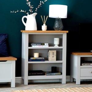 Chiltern Oak Furniture Salisbury Grey Painted Oak Small Bookcase Lp Sbc G Storage, Grey Painted