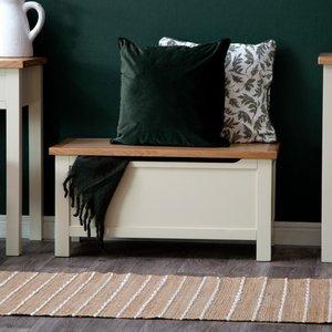 Chiltern Oak Furniture Salisbury Ivory Painted Oak Blanket Box Lp Bb C Storage, Ivory Painted