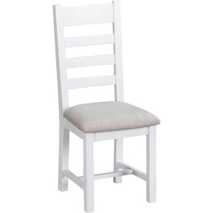 Chiltern Oak Furniture Suffolk White Painted Oak Ladderback Chair With Fabric Seat Tt Chf W Chairs, White Painted