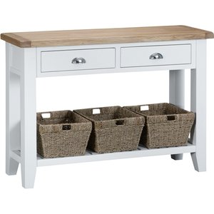 Chiltern Oak Furniture Suffolk White Painted Oak Large Console Table With Wicker Baskets Tt Lcon W Storage, White Painted