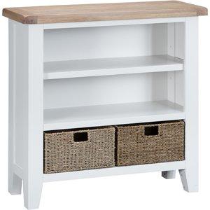 Chiltern Oak Furniture Suffolk White Painted Oak Small Wide Bookcase With Wicker Baskets Tt Swb W Storage, White Painted