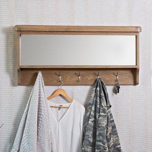 Chiltern Oak Furniture Wessex Smoked Oak Mirrored Coat Rack Ho Hbt Furniture Accessories, Oak