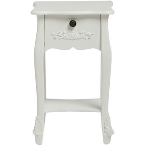 Elegant Furniture Antoinette Wooden End Table In White With 1 Drawer Antwhi1dr.lpd