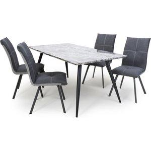 Elegant Furniture Arden Medium Grey Marble Effect Dining Table With 4 Ariel Dark Grey Dining Chairs 939 141 52 61 4.sh