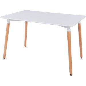 Elegant Furniture Aspen Rectangular Dining Table In White With Oak Wooden Legs Astb1.cop