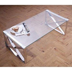Elegant Furniture Astra Clear Glass Top Coffee Table With Silver Frame Astrcoffsstabl.sr