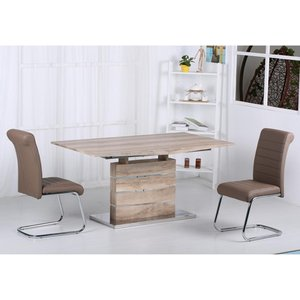 Elegant Furniture Astra Extending Wooden Dining Set In Oak Effect With 6 Pu Chrome Chairs Astrtab6cha.hl