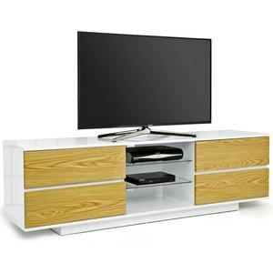 Elegant Furniture Avitus Ultra Wooden Tv Stand In White High Gloss With 4 Oak Drawers Avitus Ultra Wht Oak.mda
