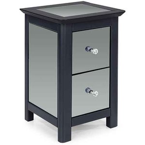 Elegant Furniture Ayr Mirrored Glass 2 Drawers Petite Bedside Cabinet In Carbon Ay209.cop