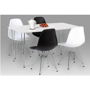 Elegant Furniture Bianca Wooden Dining Set In White High Gloss With 4 Chairs Biantabds.hl