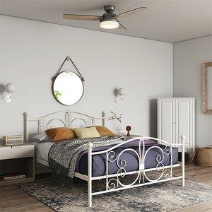 Elegant Furniture Bombay Metal Double Bed In White 3246198uk.dr